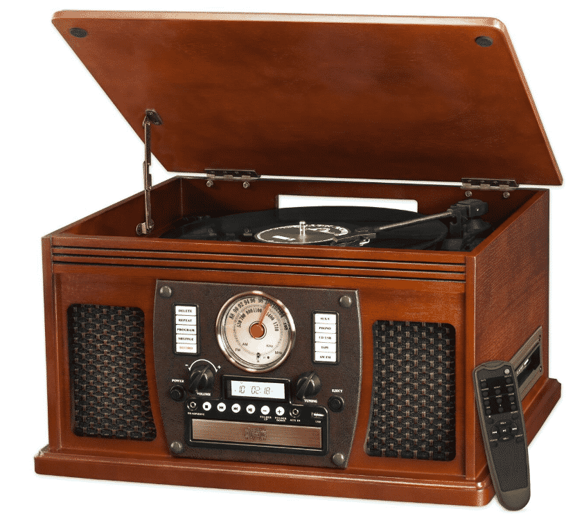 Victrola 8-in-1 Bluetooth Turntable Entertainment Center